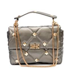 Сива дамска малка елегантна чанта от еко кожа със златни елементи-1835