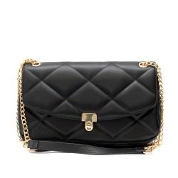 Дамска чанта от еко кожа в черен цвят с интересен дизайн и златисти орнаменти-1832