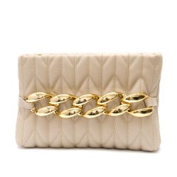 Дамска чанта цвят капучино с интересен дизайн и златисти елементи-1834