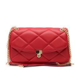 Дамска елегантна червена чанта от еко кожа със златни елементи-1832