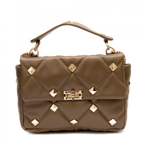 Кафява дамска малка чанта от еко кожа със златни елементи-1835