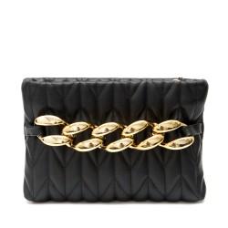 Дамска кокетна чанта в черен цвят с метална златиста верига и златна дълга ръжка-1834