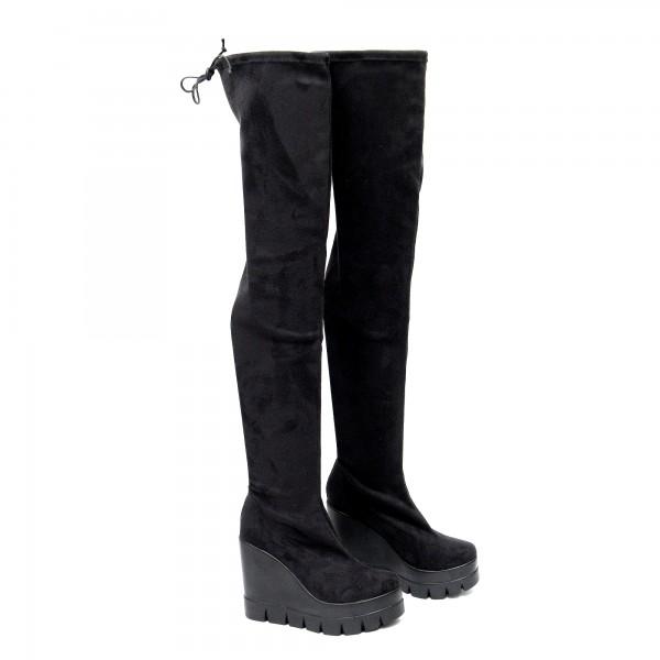 Атрактивни дамски чизми от стреч велур на платформа-1838