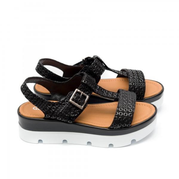 Дамски сандали от естествена черна кожа с удобна платформа-495