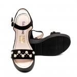 Дамски сандали от естествена кожа на платформа, черни с перли-496