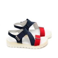 Дамски сандали в тъмно синьо и червено, комбинация ластици и естествена кожа  -447