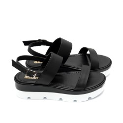 Дамски сандали естествена кожа, в черно  -447