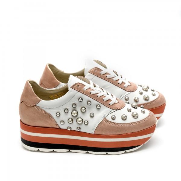 Дамски спортни обувки на платформа с перли от естествена кожа бяло + розово - 387