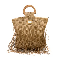 Кавяфа чанта от хартиена слама с ресни и удобни дръжки-1348-3