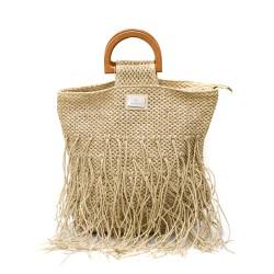 Бежова дамска плетена чанта с ресни и удобни дръжки-1348-2
