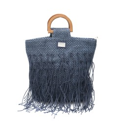 Синя модерна плетена дамска чанта с кафяви дръжки-1348-1