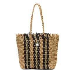 Плетена дамска чанта в кафяв цвят с дълги дръжки-1349