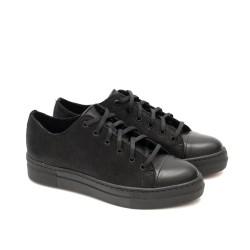Ежедневни черни дамски обувки от естествена кожа с връзки-1367