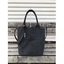 Класическа дамска чанта от еко кожа в черен цвят-