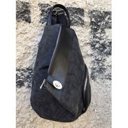 Дамска асиметрична раница от еко кожа в черен цвят-1317-1