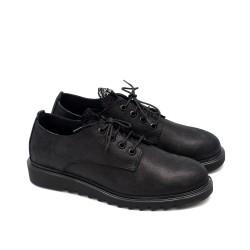 Дамски обувки от висококачествена естествена кожа в черен цвят и криспи с дантела и връзки-1758