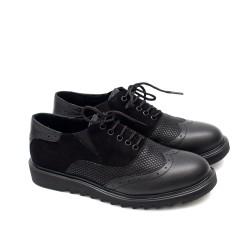 Дамски обувки от естествена кожа в черен цвят в комбинация от кожа и велур на удобно ходило-302