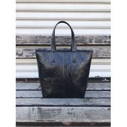 Дамска лачена лукзона дамска чанта в черен цвят-1483