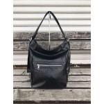 Дамска елегантна чанта в черно с ефектна кожа-1481