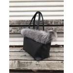 Луксозна зимна дамска чанта от еко кожа в черен цвят и нежен сив естествен пух-1471-2