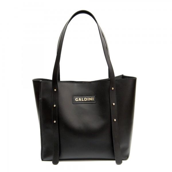 Дизайнерска дамска чанта от естествена кожа в черен цвят с лого GALDINI-
