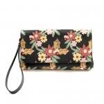 Дамски клъч-плик от естествена кожа в черен цвят с цветя-