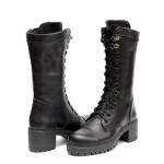 Топли дамски ботуши от естествена кожа с грайферно ходило в черен цвят-1476