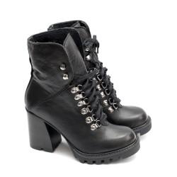 Дамски елегантни боти от естествена кожа на висок ток в черен цвят с връзки-1109-1