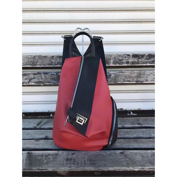 Дамска асиметрична раница от еко кожа в червен цвят от еко кожа-1317