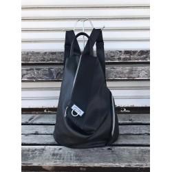 Дамска раница с ефектна визия от еко кожа в черен цвят-1317-7