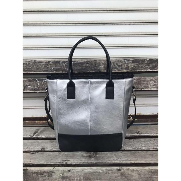 Дамска ежедневна чанта от еко кожа в сив цвят с черни елементи-1318-5