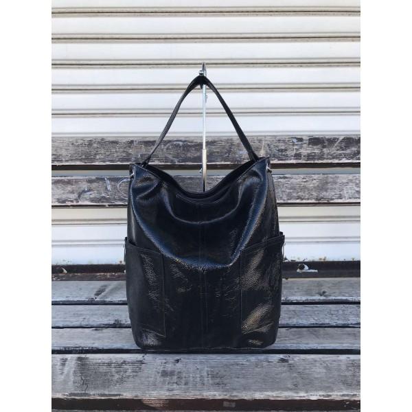 Дамска лачена чанта от еко кожа с модерен дизайн-1484