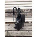 Черна удобна лачена дамска раница-1486