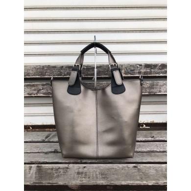 Българска дамска чанта в сив цвят от еко кожа-1479