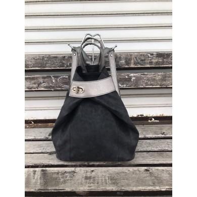Дамска раница от еко кожа в черен цвят и сиви акценти-1116-7