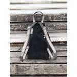 Дамска раница от еко кожа в черен цвят и сиви акценти-11116-7