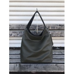 Модерна дамска чанта от еко кожа в зелено-черно с две лица-694-5