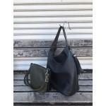 Модерна дамска чанта от еко кожа в зелено-черно с две лица-5-694