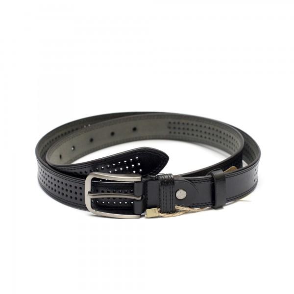 Елегантен тесен черен дамски колан от естествена кожа и сива тока с игла-3938