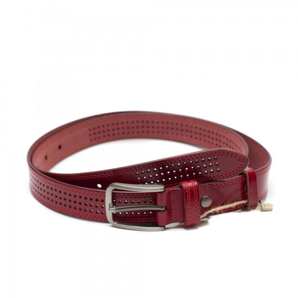Червен дамски колан от естествствена кожа с нежна перфорация-3938-1
