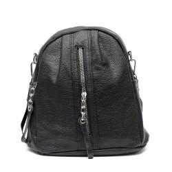 Удобна дамска чанта от еко кожа в черен цвят-1374-2