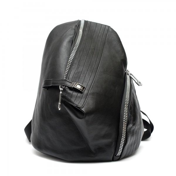 Ежедневна раница от еко кожа с ефектно закопчаване в черен цвят-1374-1