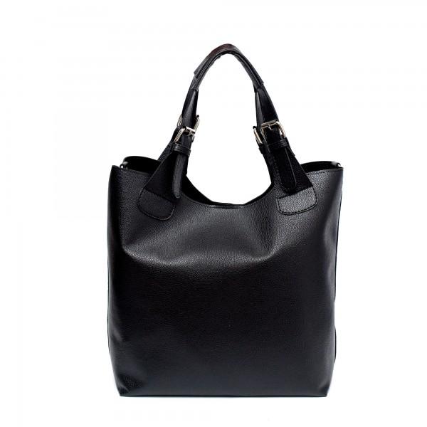Ежедневна дамска чанта от еко кожа в черен цвят-1493