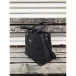 Ежедневна черна дамска чанта с модерен дизайн от еко кожа-093