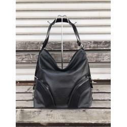 Черна елагантна дамска чанта от еко кожа с елементи от лак-1499
