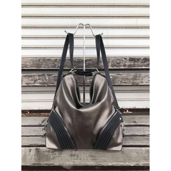Удобна ежедневна черна дамска чанта-раница с удобни джобове-1500