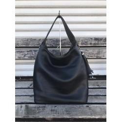 Ефектна дамска чанта с две лица в черно и графит от еко кожа2-964