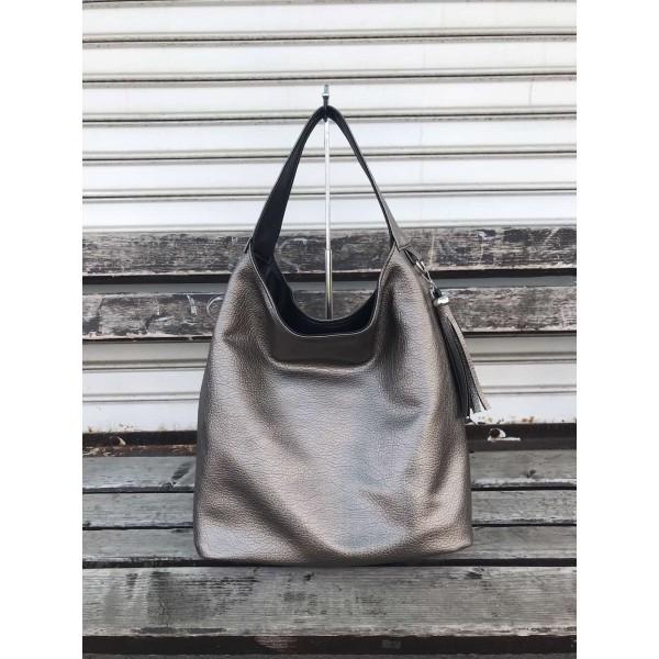 Дамска ежедневна чанта в  графит и черно с две лица и несесер от еко кожа-694