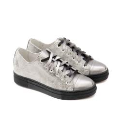 Пролетни дамски обувки от естествена кожа в сребрист цвят с връзки-45