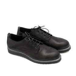 Дамски ежедневни обувки в черно с връзки и дантела от естествена кожа-707